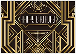 Best Allenjoy 7x5ft Gatsby Themed Backdrop for Adults Wedding Party Decoration Black and Gold Roaring 20s Art Decor 1920s Happy Birthday Children Supplies Photography Pictures Photo Studio Booth Review