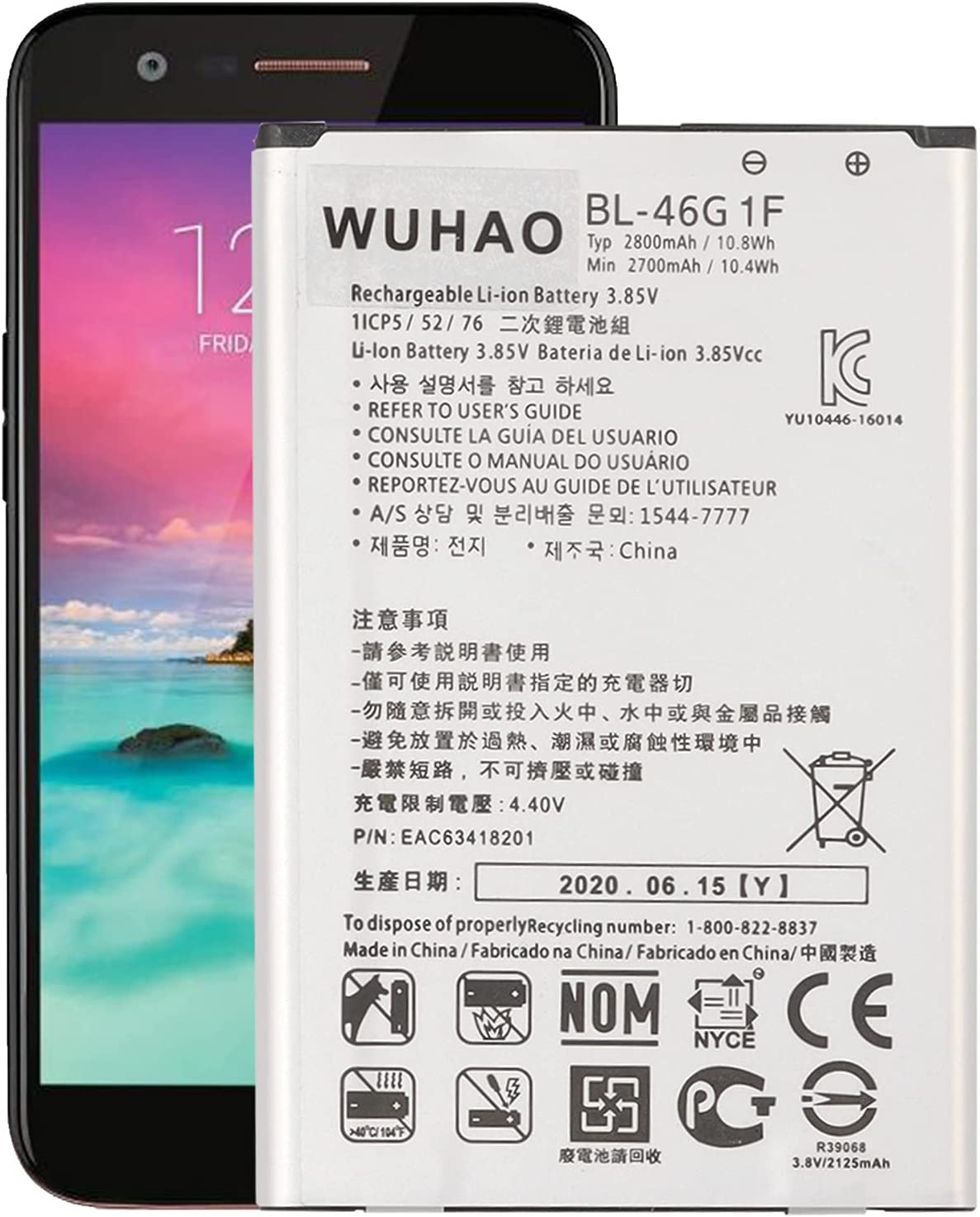 Replacement Battery BL-46G1F for Elegant M255 ATT LG List price K20