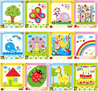 Urbebe Colorful Sticky Buttons Paintings Mosaic Sticker Art Sticky DIY Handmade Art Kits for Kids, Set of 12