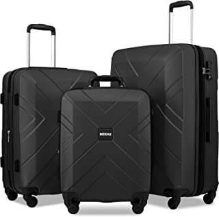 Merax Luggage Set Expandable 3 Piece Sets with TSA Lock, Lightweight Hardside Luggage with Spinner Wheels [X-Cellection] (Black)