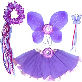 Enchantly Girls Lavender Fairy Costume - Wings, Wand, Halo and Flower Clip