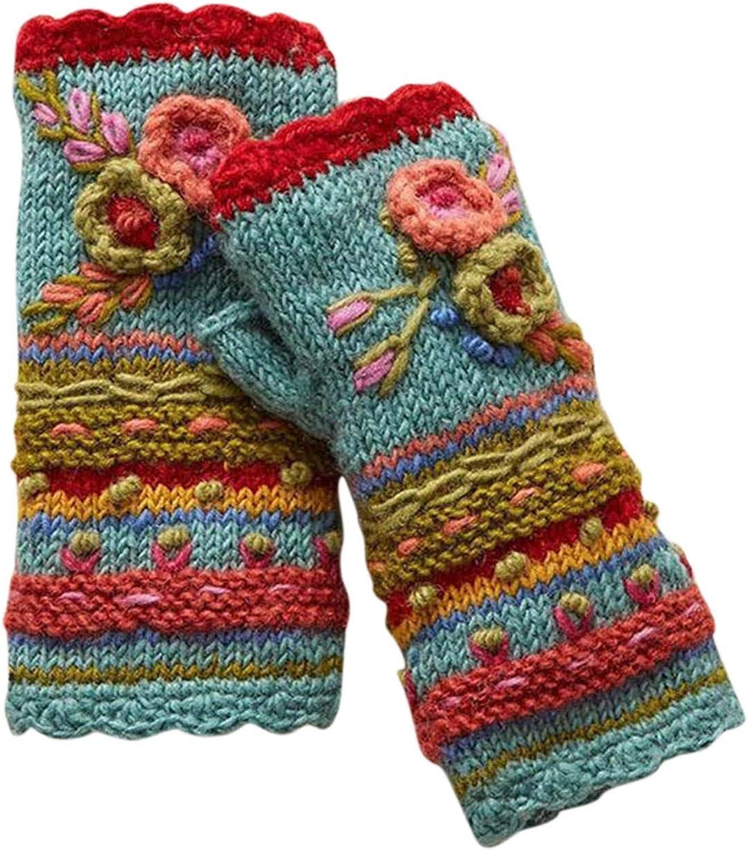 KEEADI Winter Hand Knit Fingerless Striped Texting Gloves Warm Wool Fleece Lined Mittens for Women