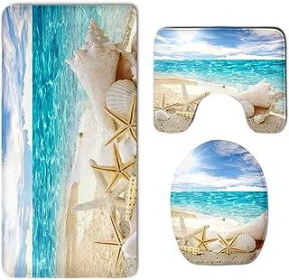 Bathroom Rug Mat Set 3 Pc - Memory Foam Plush Carpet Mats–Water Absorbent U-Shaped Bath Mats and Lid Cover - Non Slip, Fast Dry Starfish Sea Conch Seashell Rug Mat