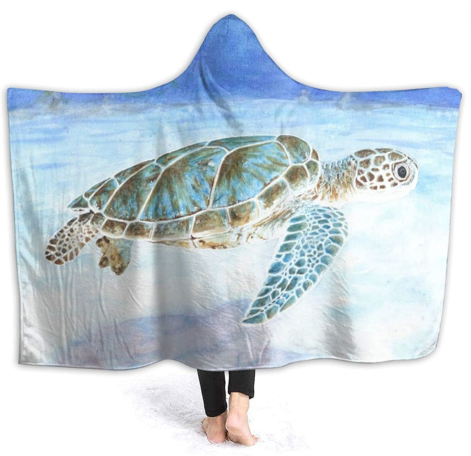 Ocean Limited time for free shipping Animals Sea-Turtle Hooded Blanket Brand new Wea Anti-Pilling Flannel