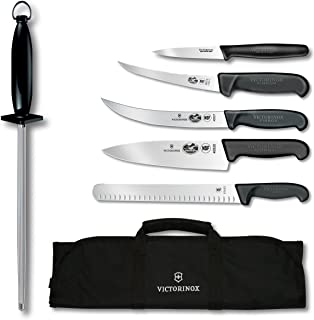 Victorinox Swiss Army Cutlery Fibrox Pro Ultimate Competition BBQ Set, Knife Roll, 7-Piece