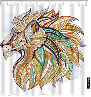 Moslion Lion Shower Curtain Set Bohemian Aztec Wild Animal Lion Head with Ethnic Feather Zodiac Leo Shower Curtains Home Decorative Waterproof Polyester Fabric Hooks 72x72 Inch