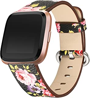 bayite Leather Bands Compatible Fitbit Versa, Slim Wristband Replacement Accessories Fitness Classic Straps Women Men