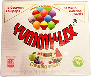 Yummy Lix Assorted Mix Flavor Gourmet Lollipops 12ct! 12 Mouth Watering Fruit Flavor Candy! Allergen Free & Tasty Lollipop Candy! Choose From Sour Or Assorted Flavor! (Assorted)