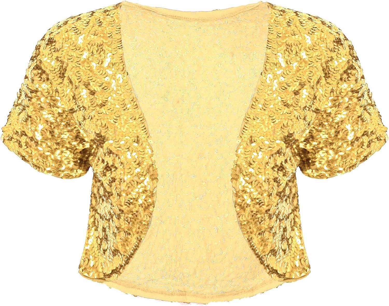 YiZYiF Women Tops Shining Sequined Short Sleeve Cropped Length Shrug Open Front Bolero Cardigan