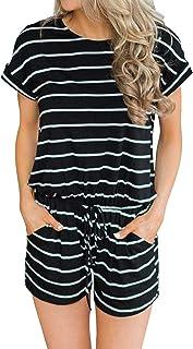Artfish Women's Summer Striped Lounge Shorts Rompers Pajamas Short Sleeve Jumpsuit