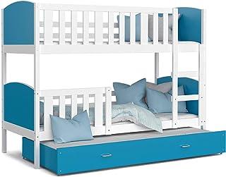 KIDS LITERIE LIT SUPERPOSÉ 3 Places Tomy 90x190 Blanc Bleu Livré avec 3 sommiers et 3 Matelas en Mousse de 7cm OFFERTS