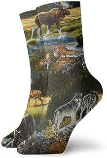 Jhonangel, Mountain Wildlife Nature Bear Moose Dress Calcetines divertidos Calcetines locos Calcetines casuales para niñas Niños