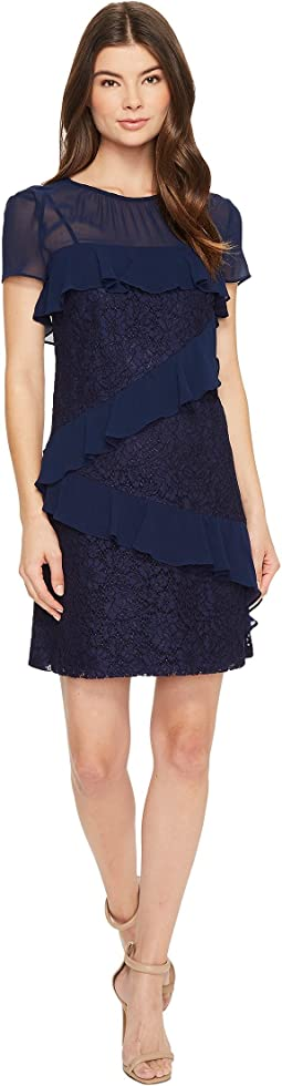 Donna Morgan - Short Sleeve Chiffon and Lace Ruffle Shift