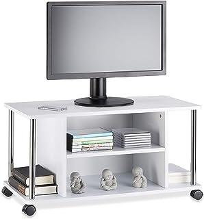 Relaxdays Mueble para TV con Ruedas Madera y Acero Inoxidable Blanco 40x80x41.5 cm