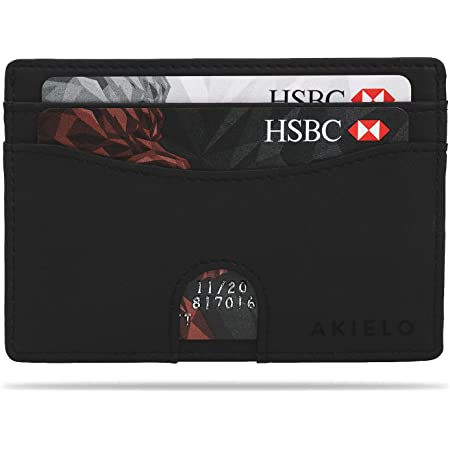 AKIELO Minimalist RFID Blocking Card Holder and Gift Box – Mens Credit Card Wallet – Compact and Slim Wallet (Echo Collection)