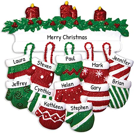 Personalized Mitten Family of 12 Christmas Tree Ornament 2020 - Knit Winter Stocking Gloves Mantle Candles Parent Children Friend Glitter Gift Tradition First Year - Free Customization (Twelve)