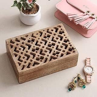 AmerIndian Jewelry Box Keepsake Trinket Storage Box Rustic Wooden Organizer with Hand Carved Geometric Pattern