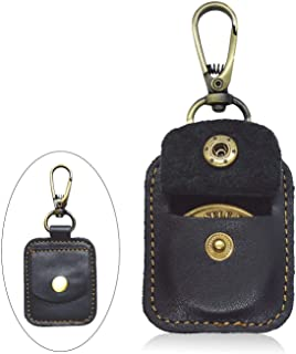 AA Medallion or Coin Holder, Leather Key Chain Snap Open Leather Case (Black)