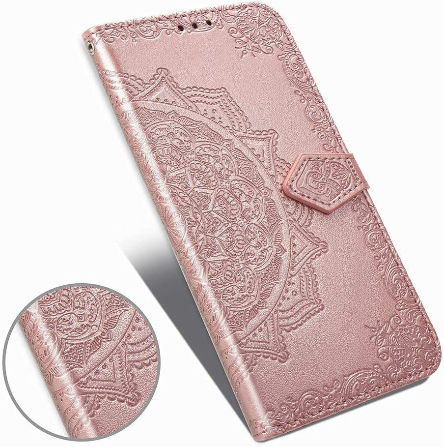 LEMAXELERS LG Stylo 6 Case PU Leather Phone Case Mandala Embossed Wallet Flip Shockproof Protective with Stand Card Holder Cover for LG Stylo 6. Mandala Rose Gold SD