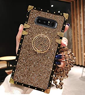 BABEMALL Compatible for Samsung Galaxy S8 Case, Elegant Premium Bling Square Protective Shock Absorption Metal Decoration Corner Back Case with Crystal Strap (Gold)