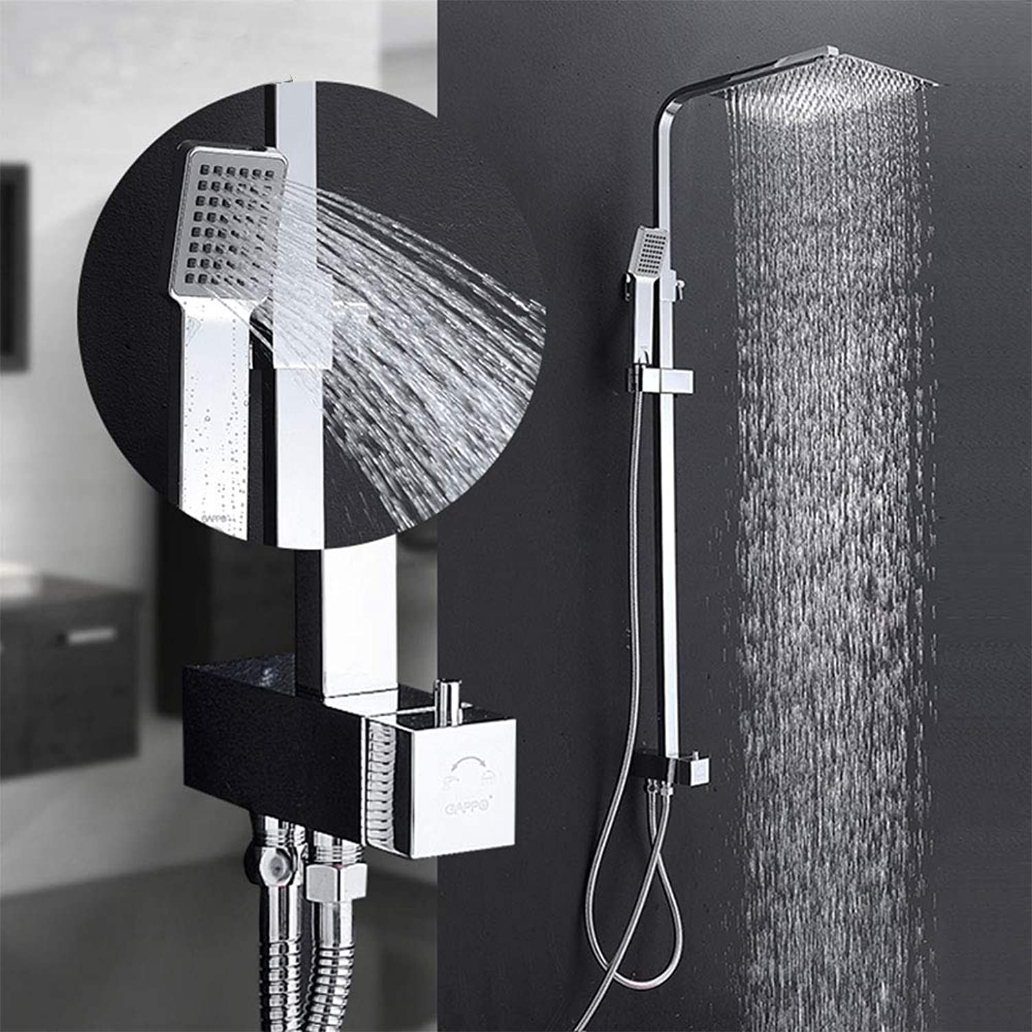 Shower Faucets Waterfall Wall Shower Mixer Tap Set Bathroom Rainfall Shower Set Bathroom Shower Mixers Faucet