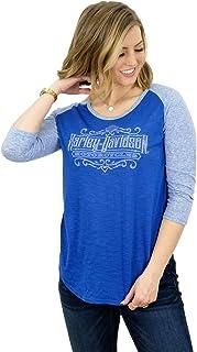 Harley-Davidson Womens Silver Line Rhinestone Raglan Blue 3/4 Sleeve T-Shirt