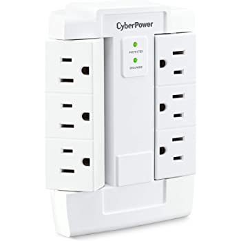 CyberPower CSB600WS Surge Protector, 900J/125V, 6 Swivel Outlets, Wall Tap, White