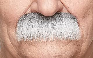 Mustaches Self Adhesive Fake Mustache, Novelty, Grandpa's False Facial Hair, Costume Accessory for Adults, Gray with White Color