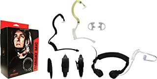 Throat Mic Tactical Microphone Headset for Motorola HT1250 HT750 MTX8250 MTX950 MTX9250, EH-TM-1002, Acoustic Tube Earhugger Earpiece, Police Surveillance Headset, Includes Earhugger Accessory Pack