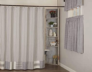 """Gray Gables Gray Ticking Shower Curtain w/ Patchwork Border, 72""""x72"""", Gray, Charcoal and Soft White Checks and Tickin"""