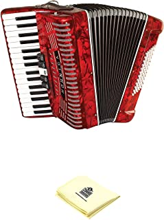 Hohner Accordion 1305-RED 97 Key 72 Bass Style Keyboard Piano Accordion in Red Bundle with Zorro Sounds Piano Accordion Cloth
