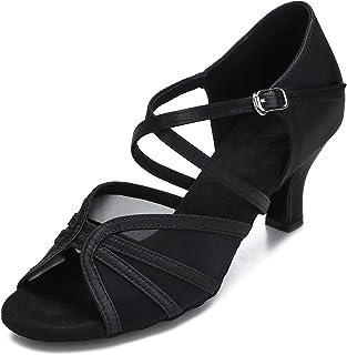 Women's Ballroom Dance Shoes Latin Salsa Dancing Shoes Cross Strap 2.5inch 3inch Heel ZB04