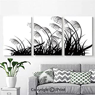 Wall Art Decor 3 Pcs High Definition Printing Silhouette of Bushes Wild Plants Wheat Field Twiggy Herbs Seasonal Picture Painting Home Decoration Living Room Bedroom Background,16