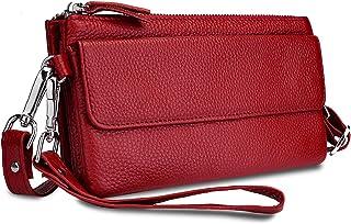 YALUXE Handtasche Damen Echtleder Smartphone Wristlet Crossbody Kupplungtasche mit RFID-Kartenschlitzen Rot