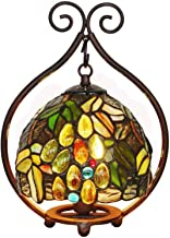 "7"" Pastoral Grape Table Lamp Tiffany Style Stained Glass Desk Light European Retro Night Light for Living Room Bedroom Bed..."