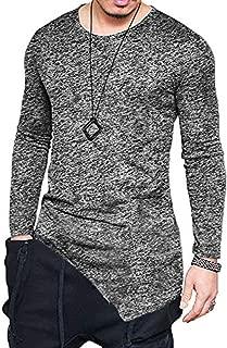 F.Honey Men's Side Pocket Turndown Collar Swag Curved Hem Long Sleeve Cowl Hip Hop Hipster Slim T-Shirt