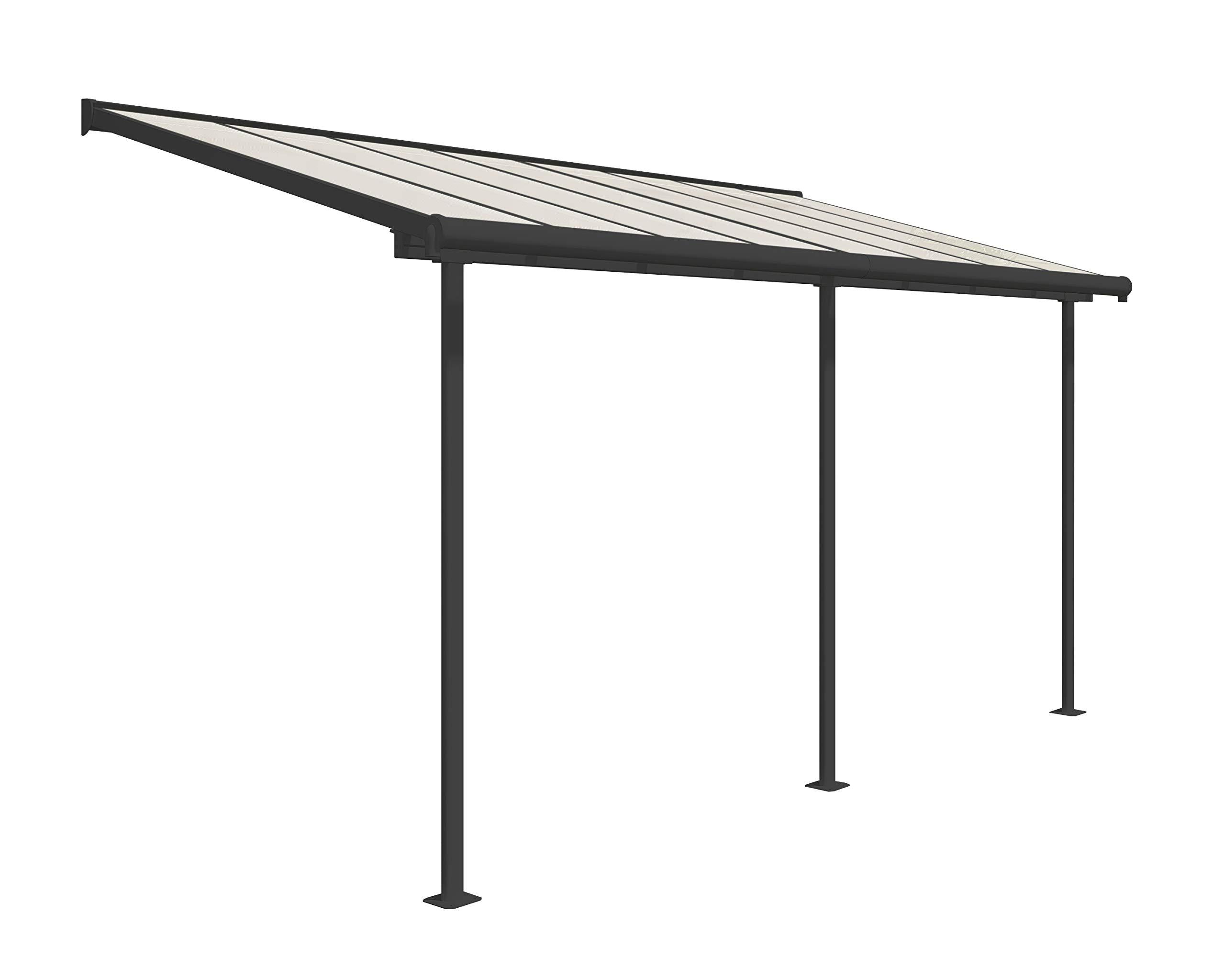 Palram Cubierta de aluminio de alta calidad para terraza, balcón, terraza, 230 x 447 cm (profundidad x ancho), color gris: Amazon.es: Jardín