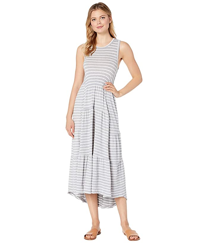 Lucky Brand  Striped Ruched Maxi Dress (Grey Stripe) Womens Clothing