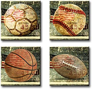BLINFEIRU Posters for Boys Room - Sport Themed Wall Art Soccer Baseball Basketball Rugby with American Flag Pictures Print on Canvas for Living Room Kid Room Decor 12x12inchx4pcs Stretched and Framed