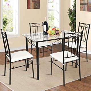 Tangkula 5 Piece Dining Table Set Glass Top Metal Kitchen Breakfast Furniture Dinning