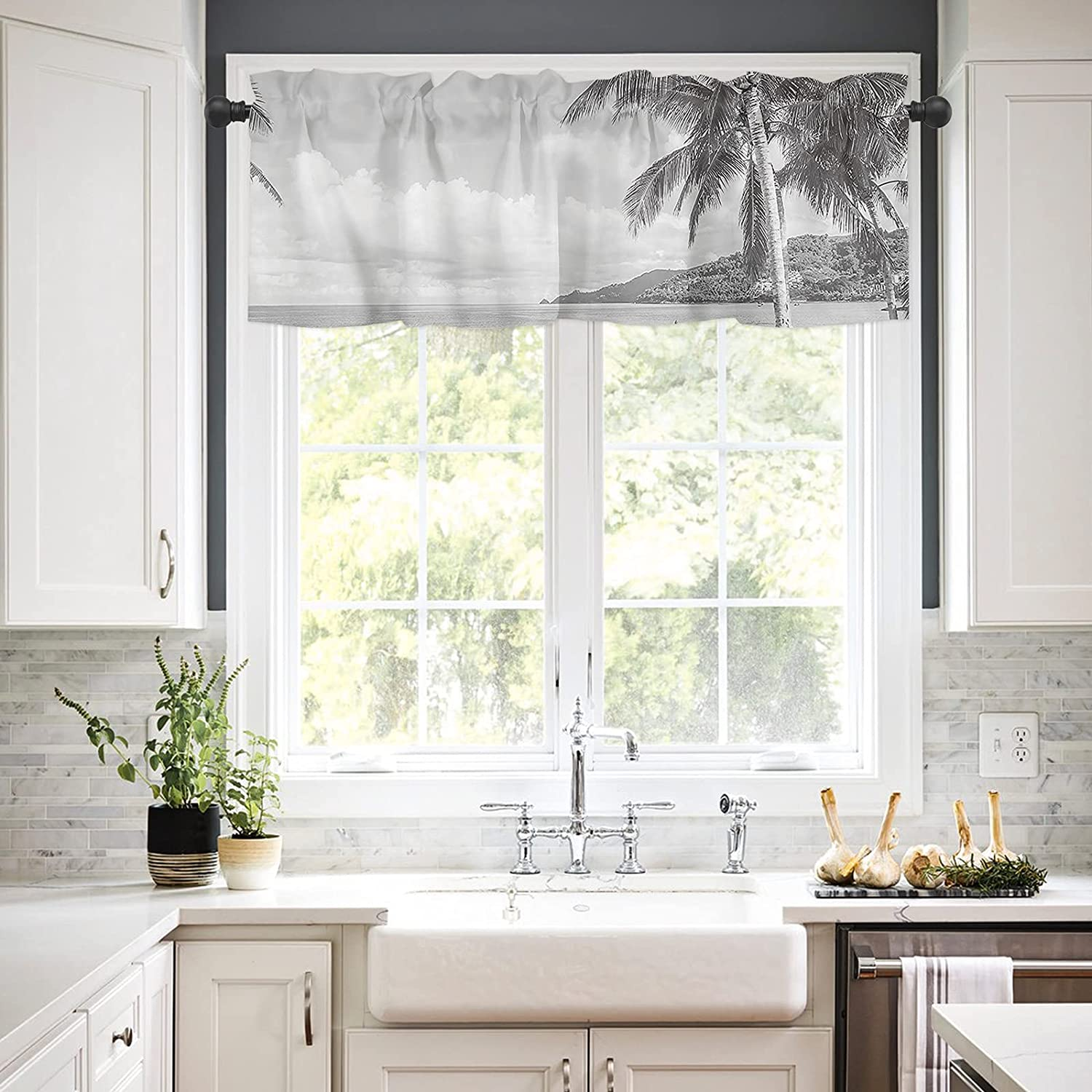 Rod Pocket Window Valances Curtains White and Kitchen Max 67% OFF Denver Mall Black for