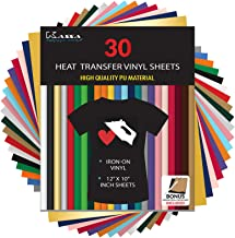 "Kassa HTV Heat Transfer Vinyl Bundle - 30 Sheets (12"" x 10"") - Iron on Vinyl for Cricut & Heat Press Machine - Perfect for..."