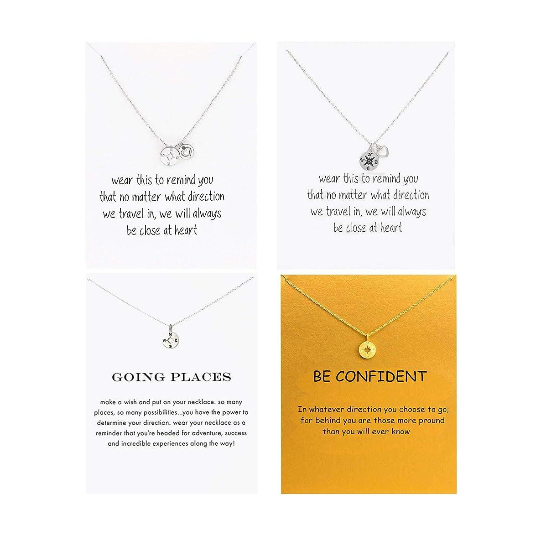 Msurs 4 Pcs Going Places Compass Necklace Good Luck Elephant Necklaces Graduation Gift