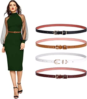 Set of 4 Womens Thin Belts SANSTHS Skinny Leather Belt with Gold Alloy Buckle