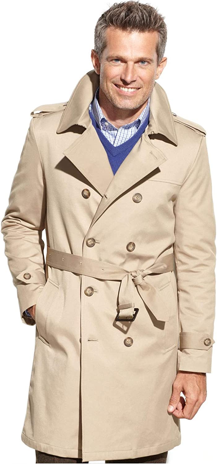 Ralph Lauren Men's Double Breasted Modern Fit 3/4 Length All Year Round Belted Trench Raincoat
