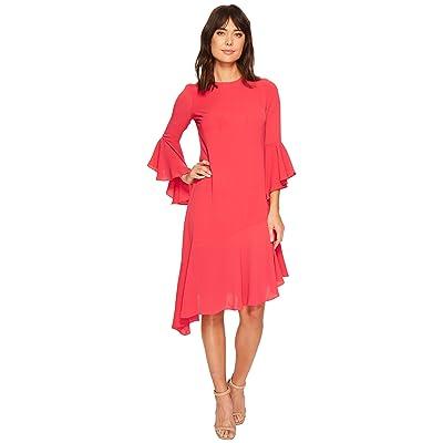Maggy London Catalina Crepe Ruffle Dress (Dahlia) Women