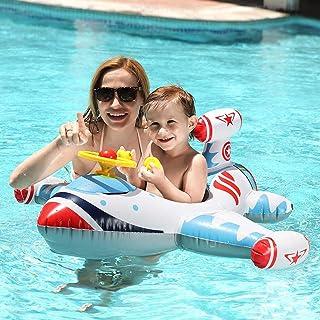Swimming Baby Inflatable Airplane, Kids Toddler Swimming Float Seat Plane, Pool Swim Ring for Boys Girls