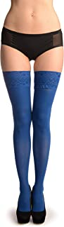 Bright Blue With Matching Silicon Garter - Stay - Up Thigh High (Stockings)