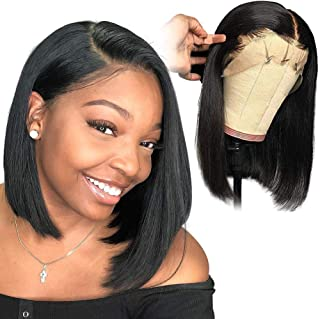 Xtrend 12inch 130% Density Straight Bob Lace Front Wigs Glueless Lace Front Bob Wig with Adjustable Straps 10A Brazilian Virgin Human Hair Natural Hairline Natural Black