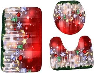 クリスマスオーナメント Dafanet クリスマス トイレカバー トイレ蓋カバー 便座カバー トイレマット ホルダーカバー 洗浄 暖房用 サンタ雪だるま エルフ エルク 雰囲気作り 3点 バスルーム ノンスリップ ペデスタル ラグ 蓋 トイレカバー バスマットセット (#E)